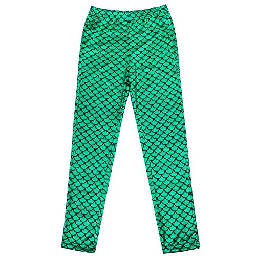 TFJH Kids Baby Girls Mermaid Fish Scale Stretchy Leggings Pants Green 110