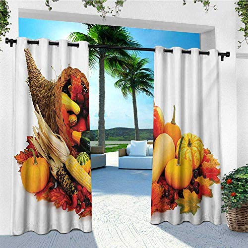 leinuoyi Harvest, Outdoor Patio Curtains, Thanksgiving Photograph with Butternut Squash Pumpkin Corn Cornucopia, for Patio W84 x L108 Inch Vermilion Orange Brown