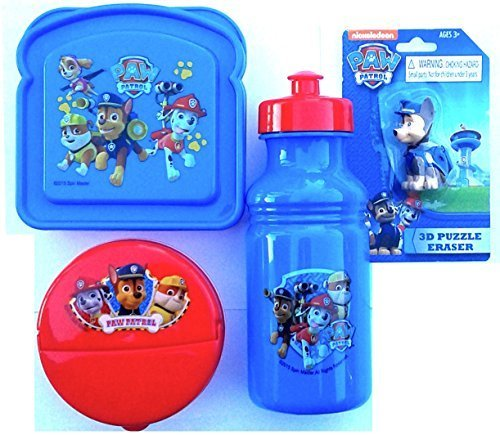 (Paw Patrol 3 Piece Lunch SET Included- 18oz Pull-Top Water Bottle,Sandwich Box & Snack Container)