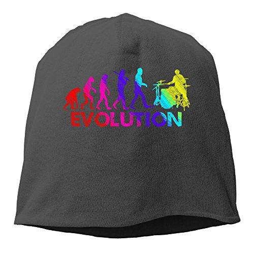 Evolution Funny Cap (Drummer Evolution Funny Music Humor Drums Women/Men Wool Hat Soft Stretch Beanies Skull Cap Unisex)