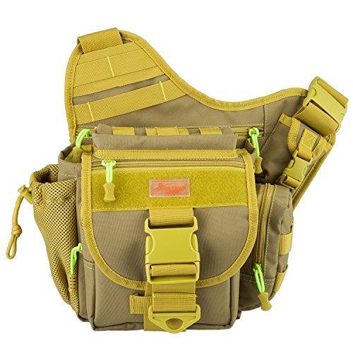 Piscifun Fishing Tackle Bags Single Shoulder Bags, Yellow Khaki