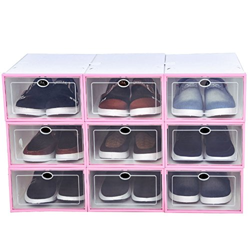 9ct Box (Familamb Shoe Box 9 Pack Foldable Stackable Storage Clear Plastic Box Pink)