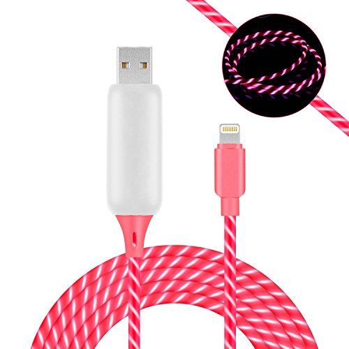 Visible Flowing LED Charging Cable, 3.0 ft Glowing LED Light Up Charging Cable Quick Charge Sync Data Cord Compatible for iPhone X 8 7 6 6S Plus 5S (Pink)