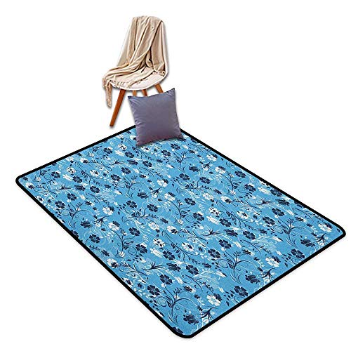 Children's Rugs Playrug Rugs Floral Swirled Mix Flower Petals Background Shabby Chic Style Classical Artsy Image Outside The Door Rug W6'xL9'