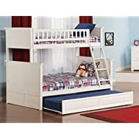 Nantucket Bunk Bed with 2 Flat Panel Bed Drawers, Twin Over Twin, White