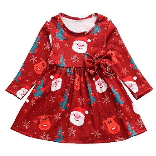 Baby Toddler Girl Clothes Xmas Dress Snowman Santa Deer Xmas Tree Print Red Princess Dress with Bowknot (3-4 Years, Red Xmas Party Dress)