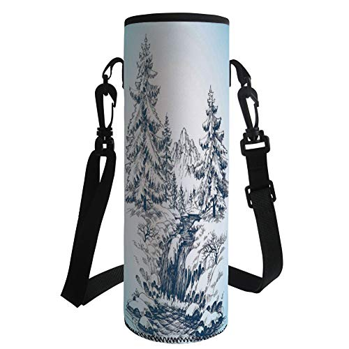 - iPrint Water Bottle Sleeve Neoprene Bottle Cover,Winter,Snow Winter Landscape Pine Forest and a River Flowing in The Mountains Blizzard Image,Soft Blue,Fit for Most of Water Bottles