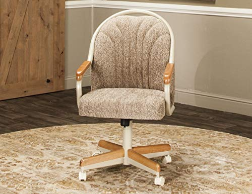 Caster Chair Company Britney Swivel Tilt Caster Arm Chair in Wheat Tweed Fabric