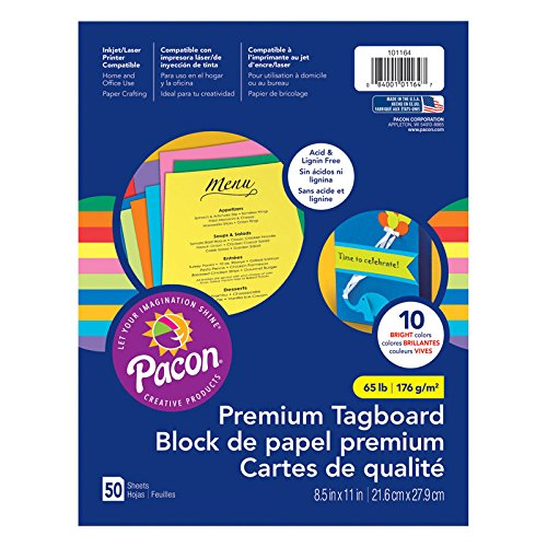 Hyper Assortment Colors (Pacon PAC101164 Premium Tagboard Assortment, 65 lb., Assorted Colors, 50 Sheets)