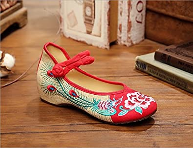 KAFEI Frauen Leinwand Stickerei Tanz retro chinesische Hochzeit Schuhe täglich Kultur, 41, Schwarz