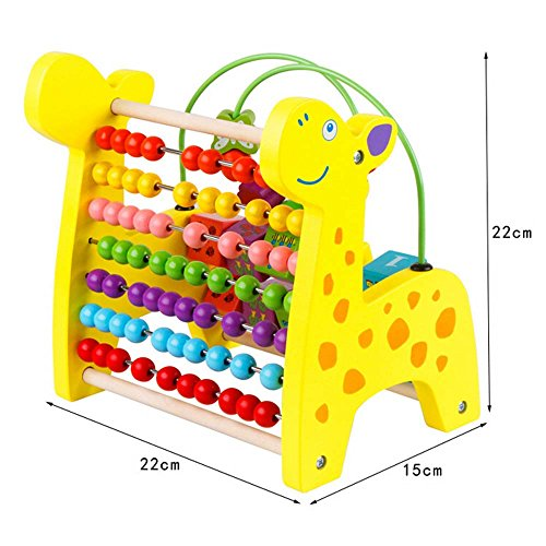 HLJgift Giraffe Circle Bead Number Math Shape Color Recognition Wooden Toys Calculator Shelf For Kids Toddler