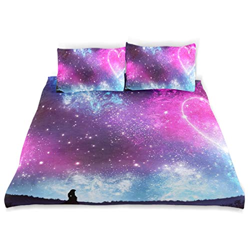 - Pink Love Starry Sky Bedding 3 Piece Set Full Set 66 × 90 in Bed Quilt Cover, 2 Pillowcase Soft Microfiber Duvet Cover Set for Kids Girls Boys Twin (66