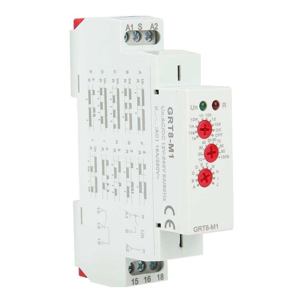 GRT8-M1 Delay Time Relay, Multifunctional Time Relay with 10 Functions DIN Rail Mount AC/DC 12V~240V by Wal front