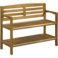 New Ridge Home Goods Abingdon Solid Birch Wood Bench with Back, Cinnamon