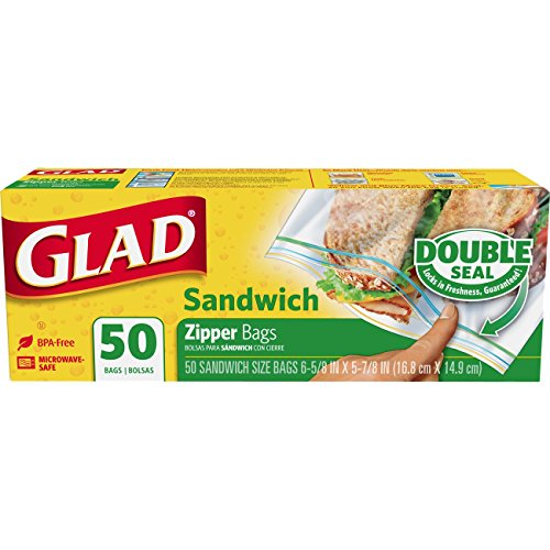 - Glad Zipper Food Storage Sandwich Bags - 50 Count