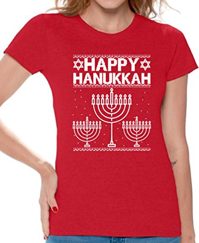 Netflix Ideas Costume (Awkwardstyles Women's Ugly Christmas Happy Hanukkah T-shirt Merry Xmas Holiday Shirt M)