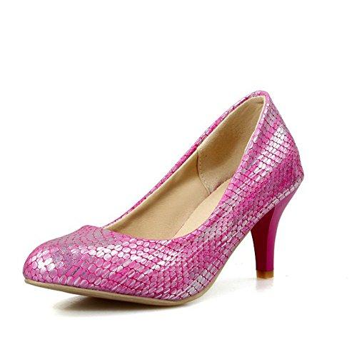 Zehe Material Absatz Mittler Rosa auf Weiches AllhqFashion Spitz Schuhe Pumps Ziehen Damen q8YnOZE