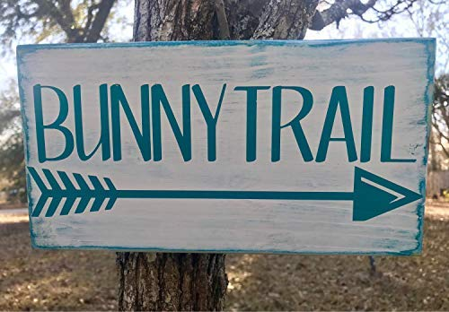 Funlaugh Bunny Trail Arrow Sign Hand Painted Wood Signs with Quotes Home Wall Plaque ()