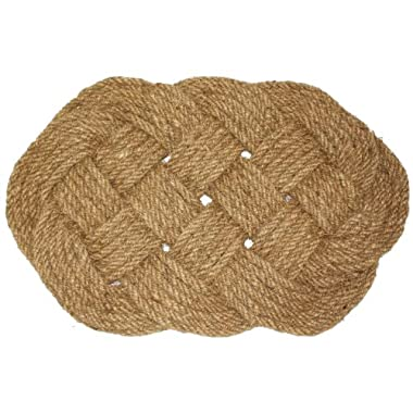 J & M Home Fashions Oval Knot Woven Coco Doormat, 22-Inch by 36-Inch