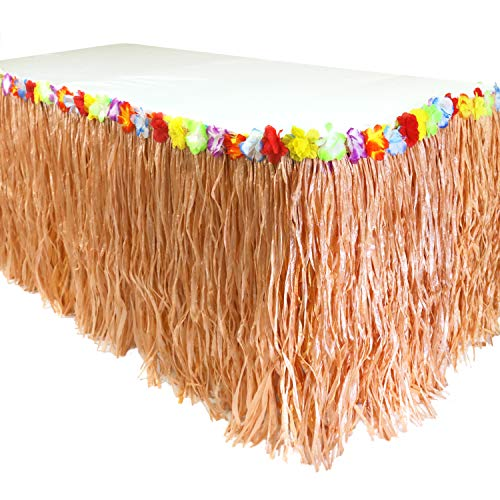 GIFTEXPRESS 9 feet X29 Luau Grass Table Skirt, Hawaiian Luau Libiscus Table Skirt for Hawaiian Party, Luau Party Supplies, Luau Party Decorations, Moana Birthday Party (Natural Hay Grass) (Decorations Small Table)