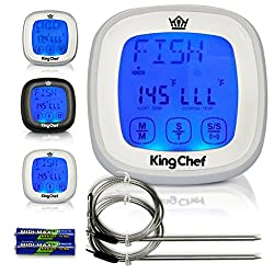 Insane Deal! King Chef Barbecue Digital Thermometer & Timer - 2 Stainless Steel Probes, Refrigerator Magnets, and Instant Read Cooking - Best For Kitchen Grill Smoker BBQ Meats, Dairy, Candy (White)