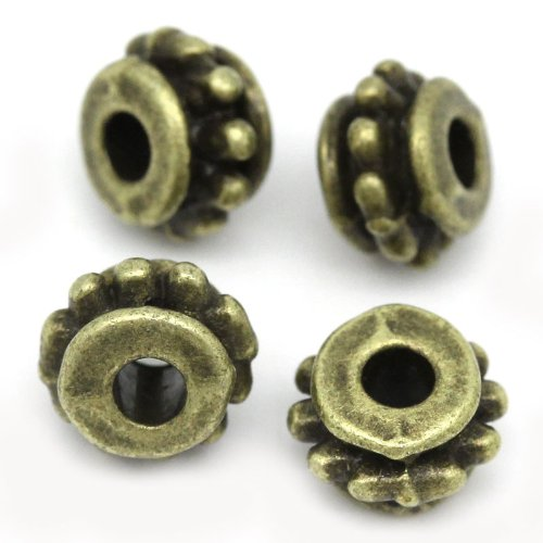 100pc Antiqued Bronze Dot Pattern Carved Spacer Beads 7mm Beading Supplies