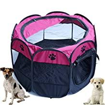 Zongsi Foldable Pet Dog Tent Octagonal Pet Cat Fence Dog Carrier Cage Portable Playpen For Dog Cat Rabbit Kennel Indoor Outdoor Travel House(M, Purple)