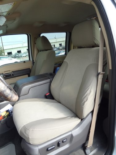 Durafit Seat Covers Made to fit 2011-2015 Ford F250-F550 Lariat and King Ranch Front Bucket Seats and Rear 60/40 Split Bench with Integrated Seat Belts in Tan/Taupe 2-Tone Twill/Velour Fabric ()