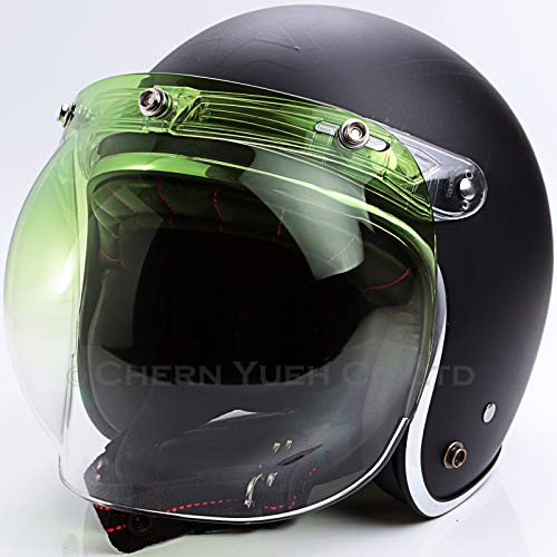 a3eba742 Chern Yueh Motorcycle Helmet Bubble Shield with Flip Adapter for 3-Snap  Helmets (Green