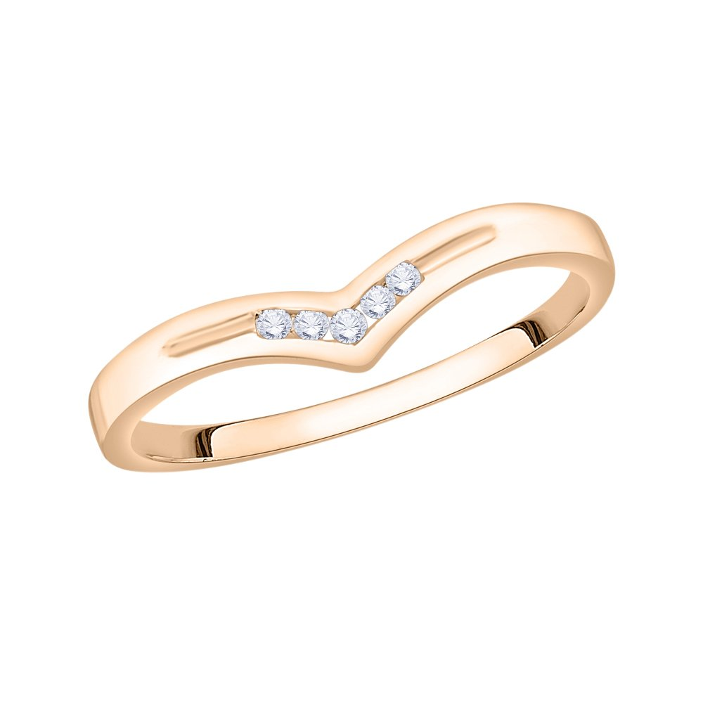 G-H,I2-I3 1//20 cttw, Diamond Wedding Band in 10K Pink Gold Size-4