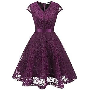 69e0a6479c33c4 MUADRESS 6004 Vintage V-Neck Floral Lace Bridesmaid Dress Cap-Sleeve Grape  XS