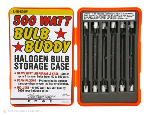 (Designers Edge L15 L-15 Work Light Replacement T-3 Bulbs with Hard Case, 500-Watt, 6-Pack,)