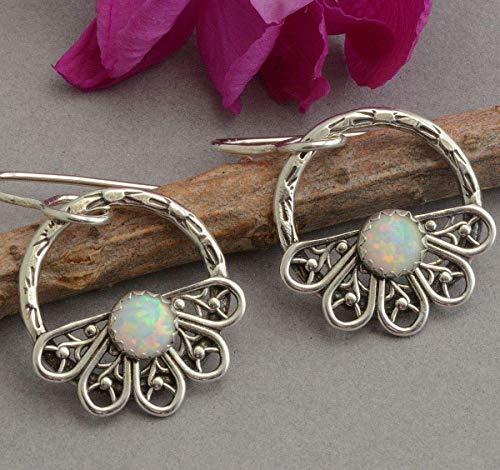 Little sterling silver hoop earrings lab-created opal dangle earrings filigree butterfly wings