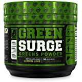 Green Surge Green Superfood Powder Supplement - Keto Friendly Greens Drink w/Spirulina, Wheat & Barley Grass, Organic Greens - Green Tea Extract, Probiotics & Digestive Enzymes - Lemon Lime - 30sv