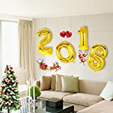 40inch Giant Gold 2018 Number Foil Balloons [Set of 4] for New Year Eve Party Festival Decoration