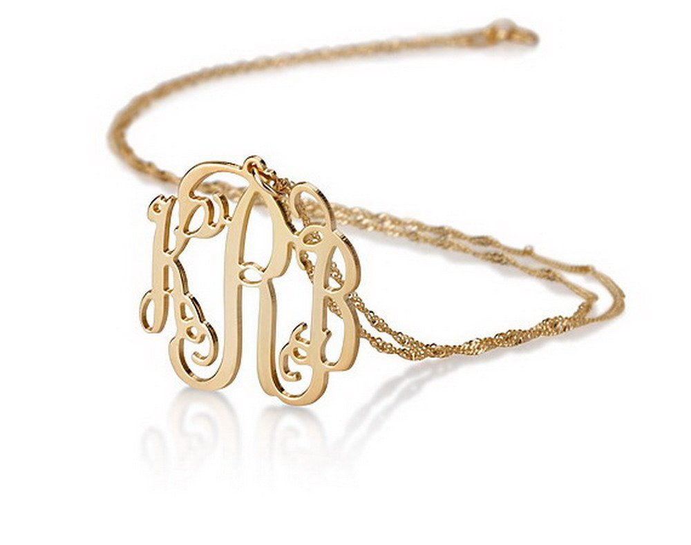 14k Gold Monogram Necklace Personalized Name Necklace Initial Necklace (16 Inches)