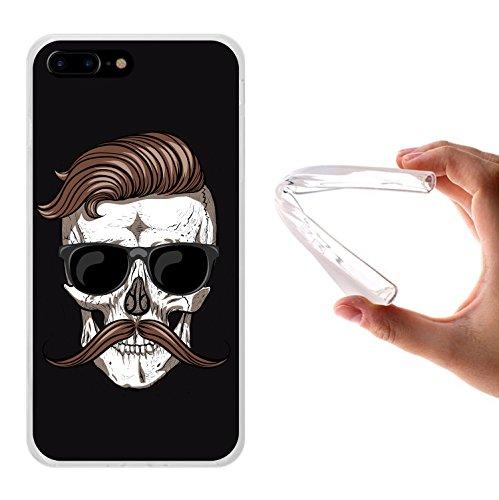 iPhone 8 Plus Hülle, WoowCase Handyhülle Silikon für [ iPhone 8 Plus ] Schädel und Schnurrbart Handytasche Handy Cover Case Schutzhülle Flexible TPU - Transparent