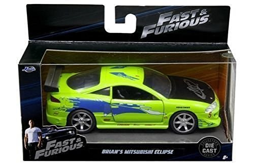 NEW 1:32 COLLECTOR'S SERIES FAST & FURIOUS COLLECTION - GREEN BRIAN'S MITSUBISHI ECLIPSE Diecast Model Car By Jada Toys Diecast Model Collection Cars