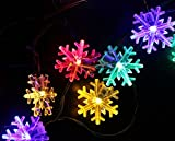 Inngree Solar String Lights,20 ft 30 LED Snowflake Outdoor Waterproof Solar Powered Fairy String Lights Christmas Lights For Garden, Patio, Yard, Home, Christmas Tree, Parties