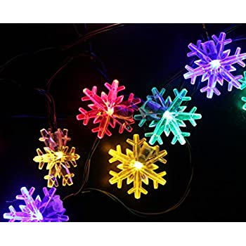 inngree snowflake solar string light 20 ft 30 led waterproof solar power string lights for parties - Solar Powered Outdoor Christmas Lights