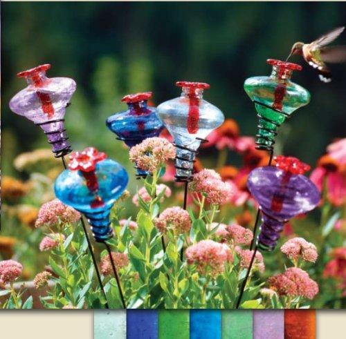 Feeder Hummingbird Hanging Blossom (Par-A-Sol - MBAQ - Mini Blossom on Stake - Aquamarine)