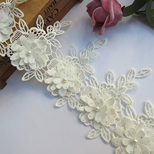 2 Yard Cotton Eyelash Lace Edge Heart Flower Pearl Trim Ribbon 6 cm Width Vintage Style White Trimmings Edging Fabric Embroidered Applique Sewing Craft Wedding Bridal Dress Party Clothes Decoration