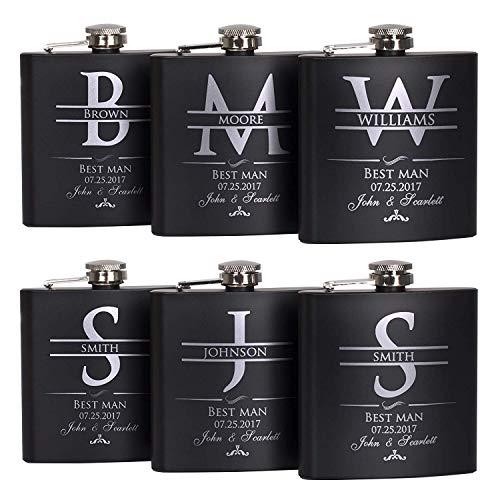 Linkes Groomsmen Gift - Groomsman Gifts For Wedding, Wedding Favor Customized Flask w Optional Gift Box - Engraved 6oz Stainless Steel Hip Flask Custom Personalized Flask Gift (6 sets) (Barware Set Links)
