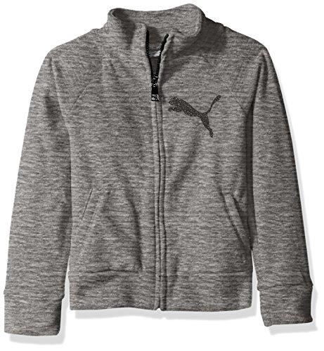 PUMA Big Girls' Space Dye Zip-up Jacket, Medium Heather Grey, Medium (8/10)