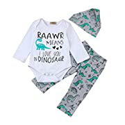 Sharemen Baby Boy Girl Long Sleeve Tops + Dinosaur Pants Outfit Set (0-3 Months, White)