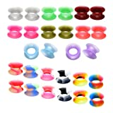 4 gauge plugs - JOVIVI Pack of 28 Mixed Colors Ultra-thin Soft Silicone Double Flared Flexible Flesh Tunnel Plugs Gauges 00G