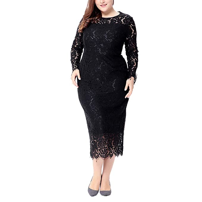 55a9e35f5ff269 Women's Floral Lace Formal Bodycon Cocktail Party Dress Ladies Elegant  Gowns Long Sleeve Slim Fit Pencil
