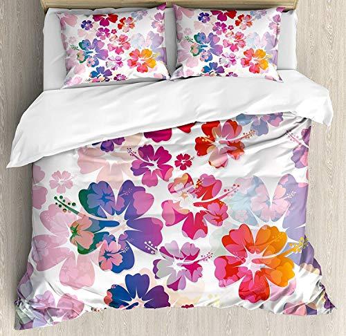 (MIGAGA Hawaiian Duvet Cover Set, Exotic Floral Print Island Theme Tropical Hawaii Flowers Pattern Art Print, 3 Piece Bedding Set with Pillow Shams, King Size, Purple Red)