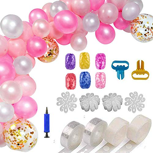 (Gorse Balloon Decorating Strip Kit for Arch Garland 32.8Ft Balloon Tape Strip,2 Pcs Tying Tool, 200 Dot Glue, 20 Flower Clip,6 Roll Ribbon and 1 inflator for Wedding Birthday Baby)