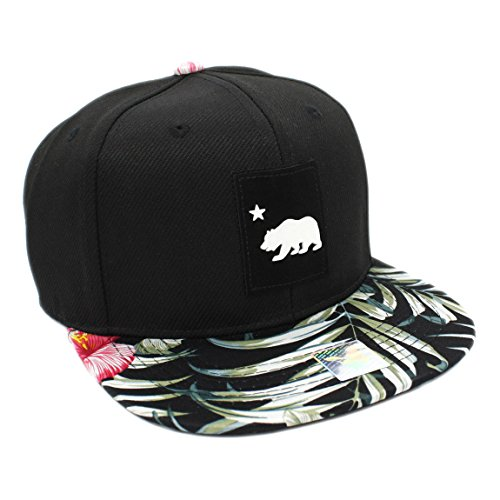 California Republic Bear Logo Rubber Patch Cotton Snapback Floral Pattern Bill - Floral Snapback Hat